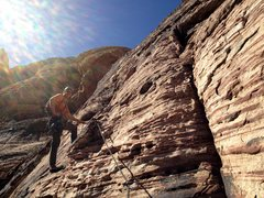 Rock Climbing Photo: Doug Foust at the pitch 3, sloping alcove belay.  ...