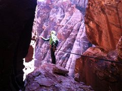 Rock Climbing Photo: Contemplating the moves off the chockstone to star...