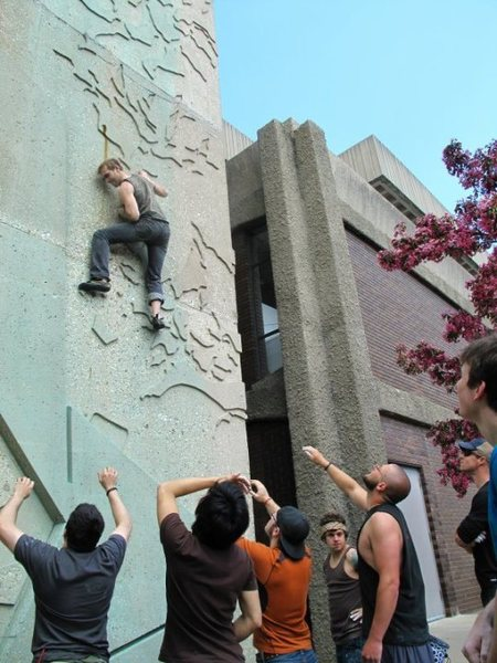 Rock Climbing Photo: fun and free, UW-Milwaukee buildering is a great a...
