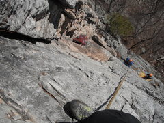 Rock Climbing Photo: The belayers are at the bolts (gear anchor possibl...