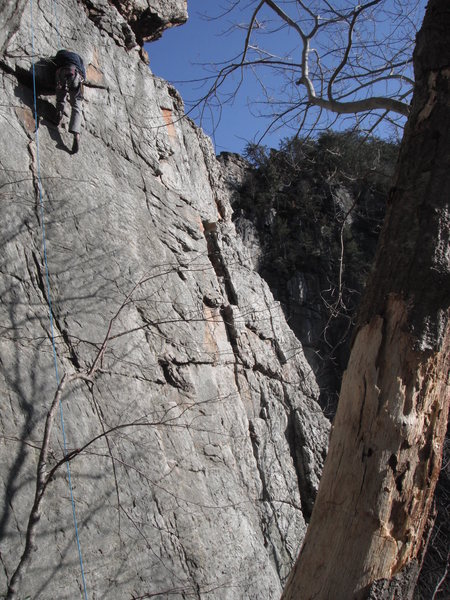 Rock Climbing Photo: The climber is about 1/2 way up the route. This pi...