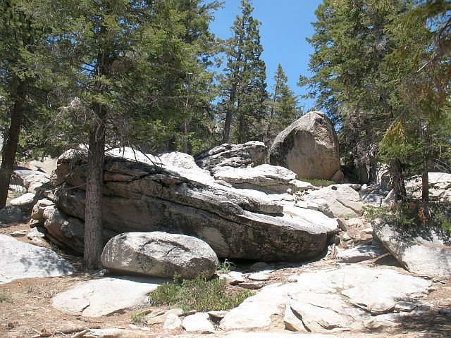 Angus Boulder and Black Moon Boulder from trail, Tramway
