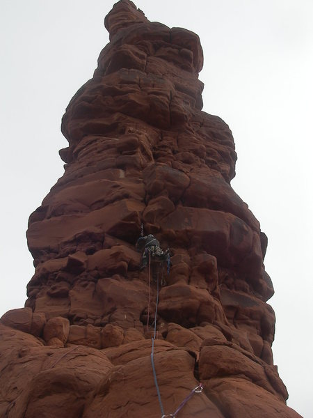 Rock Climbing Photo: Leading Pitch 1 (C2+) on Standing Rock.