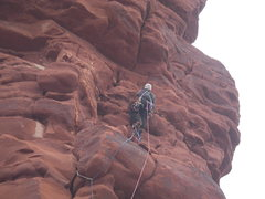Rock Climbing Photo: Higher up on Pitch 1 before traversing to the R cr...
