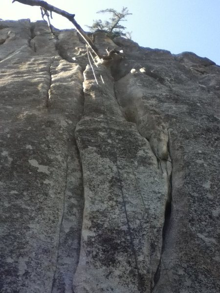 Climb the double cracks to start.