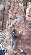 Rock Climbing Photo: Establishing on small holds before the final move.