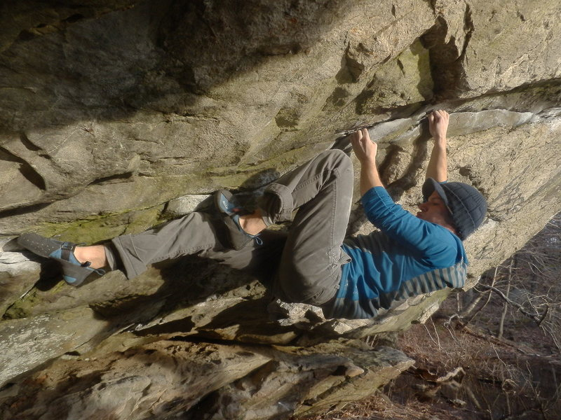Rock Climbing Photo: Pond Cave Traverse, at Lincoln Woods