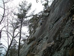 Rock Climbing Photo: Jon reaching for the big holds on the first ascent...