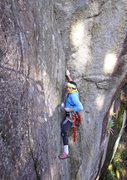 Rock Climbing Photo: Entering the crux on P1 (11b). Wilman's Walkabout....
