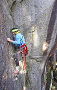 Rock Climbing Photo: The crux on Wilman's Walkabout P1 (11b).