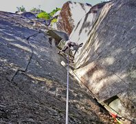 Rock Climbing Photo: Top of P1 on Wilman's Walkabout. This section is a...