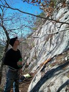 Rock Climbing Photo: My older bro sizing up Coyote Rain, his first high...