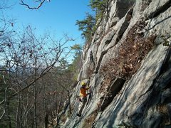 Rock Climbing Photo: Top rope hanging from Coyote Rain (not ideal due t...