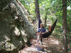 Rock Climbing Photo: Lazy man belay!