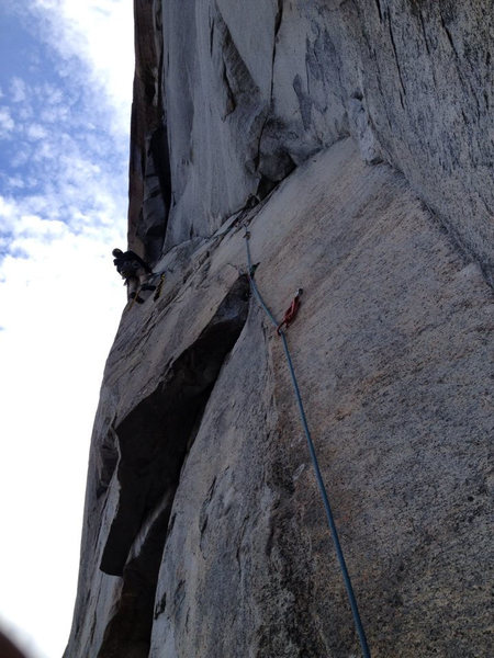 Thomas Skinner aiding out the 3rd pitch of GM(picture and belay by Alex Willis.