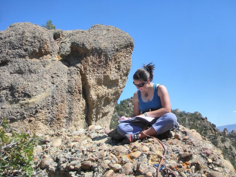 Rock Climbing Photo: Megan Emmons signing the summit register
