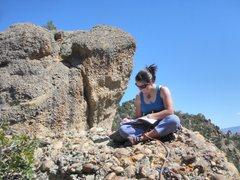 Rock Climbing Photo: Megan Emmons signing the summit register