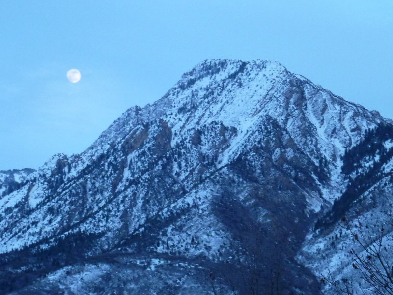 Mt Olympus Snow and Moon 3/25/13