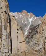 Rock Climbing Photo: Pratt's crack area with Scheelite Chute in the bac...