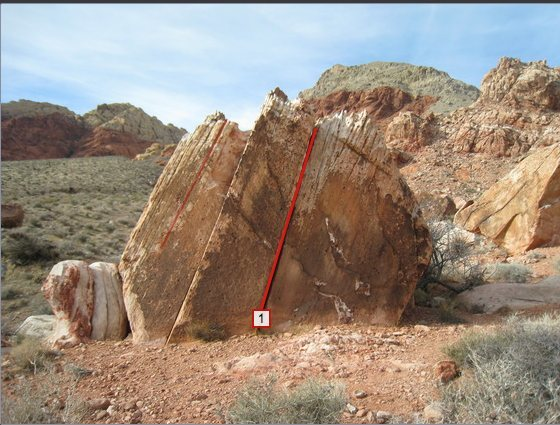 Rock Climbing Photo: Red line shows route