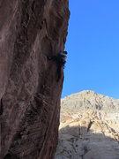 Rock Climbing Photo: Greg through the crux of Lunatic.