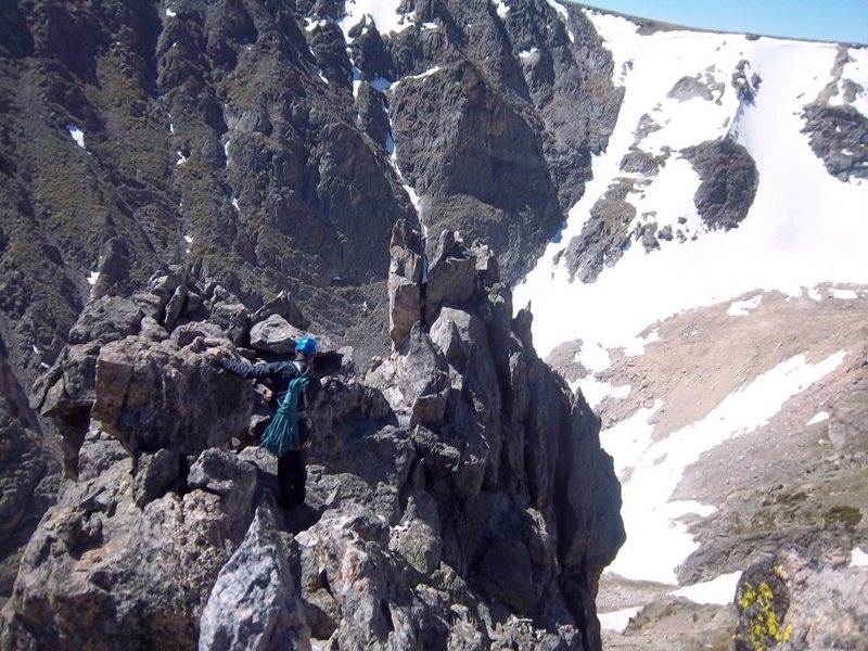 Scrambling around on the summit after doing the Spiral Route.  Descent is to my right.  Wicked cool summit!!!<br> <br> Photo by Simon Thompson.