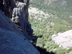 Rock Climbing Photo: Me coming up the thin, flaring crack on p2 of Whit...