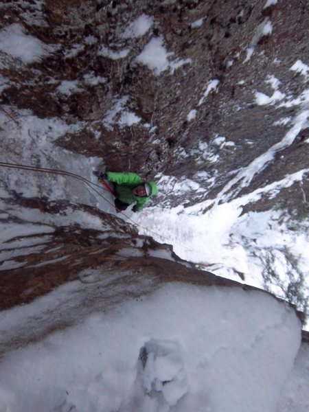 Kevin enjoying the sickness of the Hobbit Couloir!!!  Photo by Simon Thompson