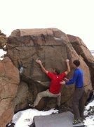 Rock Climbing Photo: Greg making the crux left hand bump.
