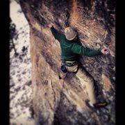Rock Climbing Photo: Mark E. spread eagle through the thin crux