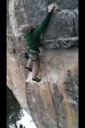 Rock Climbing Photo: Mark in a nice jug