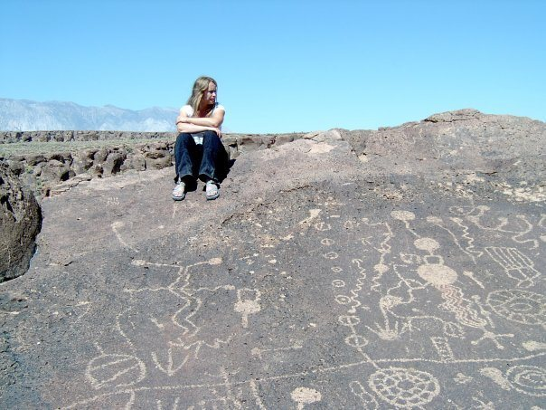 Amy Wilkins at the Chalk Bluffs Petroglyphs.