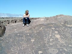 Rock Climbing Photo: Amy Wilkins at the Chalk Bluffs Petroglyphs.