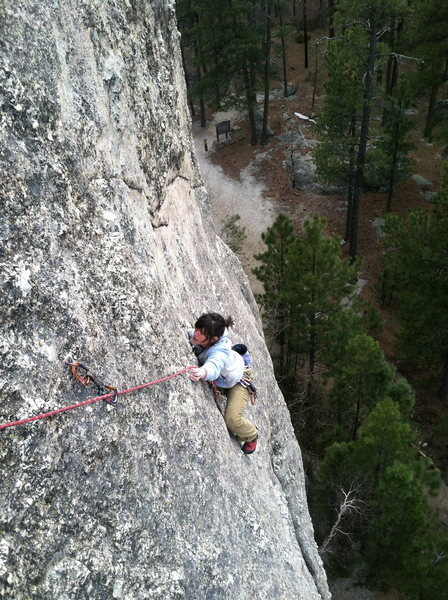 Rock Climbing Photo: Shalayne into the thin section