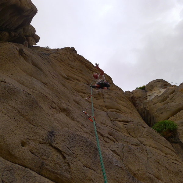 Mike Arechiga on super duper fun new, Castle Magic.5.8/5.9, 2 pitch route on Penstock Rock.