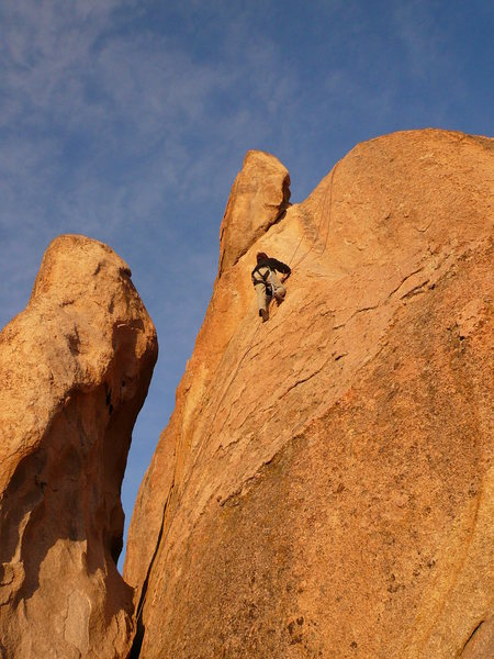 Susanna Domancich approaching the crux of a 5.9.  Beautiful climbing!!!