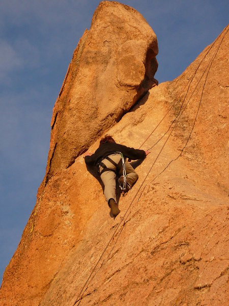 Crux move by Susanna Domancich on a 5.9<br> Route E at Casa Diablo