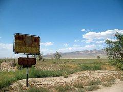 Rock Climbing Photo: Roadside sign, Fish Lake Valley