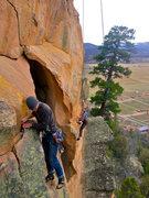 Rock Climbing Photo: Foreground: Gary follows Push Me Pull You.  Backgr...