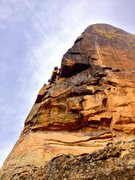 Rock Climbing Photo: Only pro on the route... keeps your bouncing, leg-...