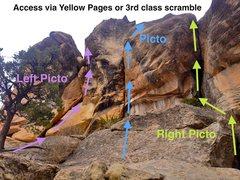 Rock Climbing Photo: Picto beta: Bolted anchor to the FAR left atop &qu...