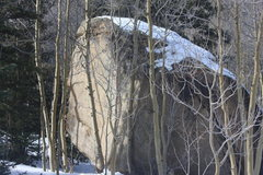 Rock Climbing Photo: Left Arete in winter.
