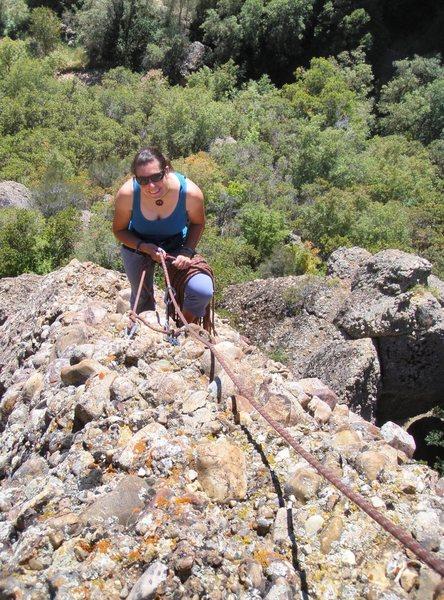 Rock Climbing Photo: Megan belaying, pitch 3