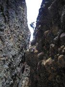 Rock Climbing Photo: Megan rappelling LGB
