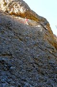 Rock Climbing Photo: Route ends below horizontal fissure