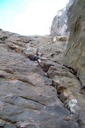 Rock Climbing Photo: Mike Arechiga on new fun 5.10b route on The Gorgeo...