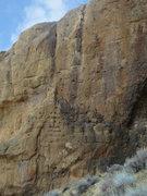 Rock Climbing Photo: Bolt From the Blue follows the black water streak ...