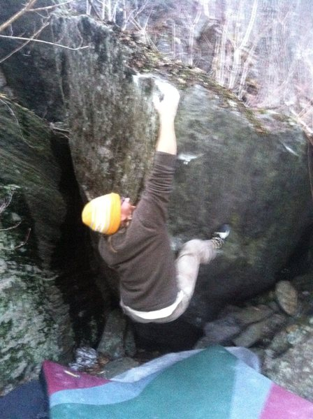 Rock Climbing Photo: Move three, big hard bump to the top.