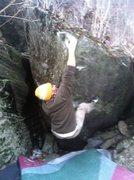 Rock Climbing Photo: Move three, big hard bump to the top.