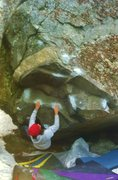 Rock Climbing Photo: Mike setting up for the big throw. (Entering the c...
